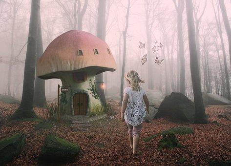 Girl, Child, Mushroom, House, Forest, Trees