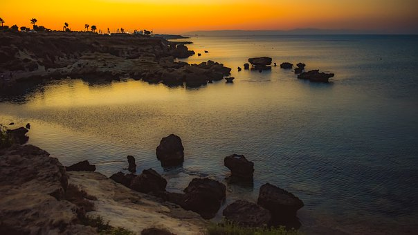 Sunset, Horizon, Rocky Coast, Twilight, Landscape