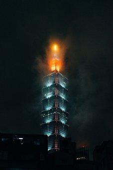 Taipei 101, Skyscraper, Taipei, Night, Illuminated