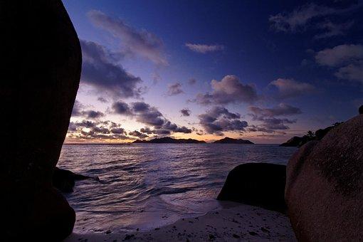 Beach, Ocean, Tropical, Sunset, Sea, Island, Twilight
