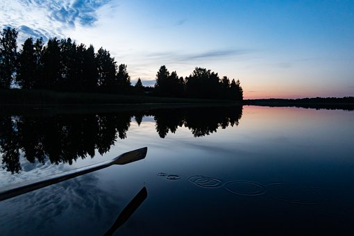 Boat, Row, Lake, Night, Scenery, Water, Beautiful