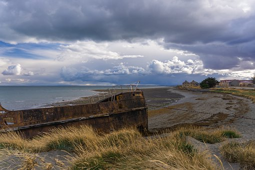 Ship, Shipwreck, Sky, Clouds, Landscape, Beach, Sea