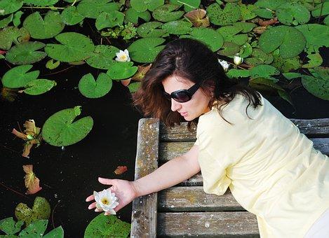 Woman, Lake, Flower, Lily, Pier, Pond, Leaves, Foliage