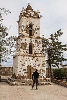 Church, Building, Ruins, Tower, Man, Adobe