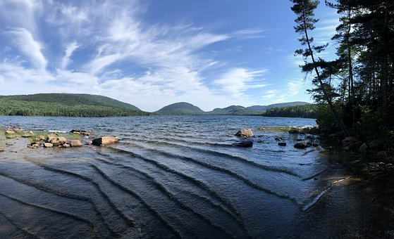 Mountains, Lake, Waves, Clouds, Acadia, Maine, Nature