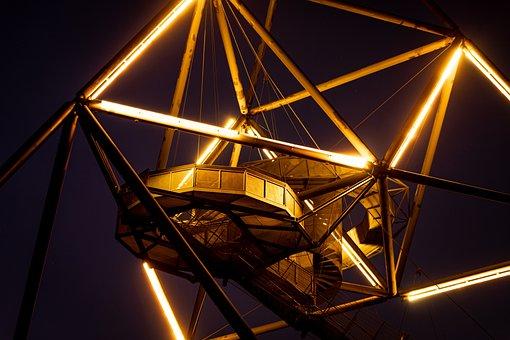Tetrahedron, Shape, Structure, Shiny, Night, Sky, Light