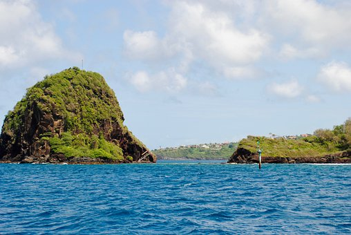 Mountain, Coast, Ocean, Rock Island, Tropical, Exotic