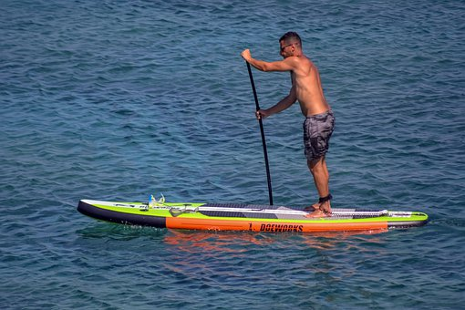 Man, Paddle Boarding, Sport, Paddle, Board, Stand, Sea