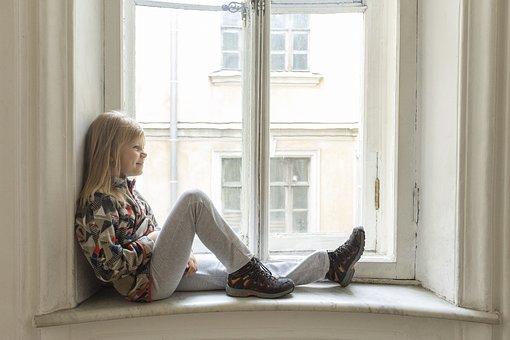 Girl, Window, Sitting, Casual, Pose, Fun, Childhood