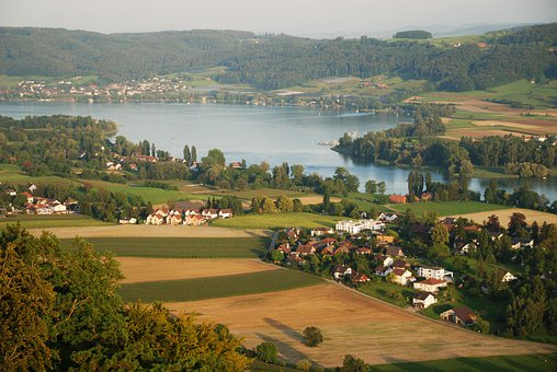 Town, Lake, River, Rhine, Field, Swiss, Riverside