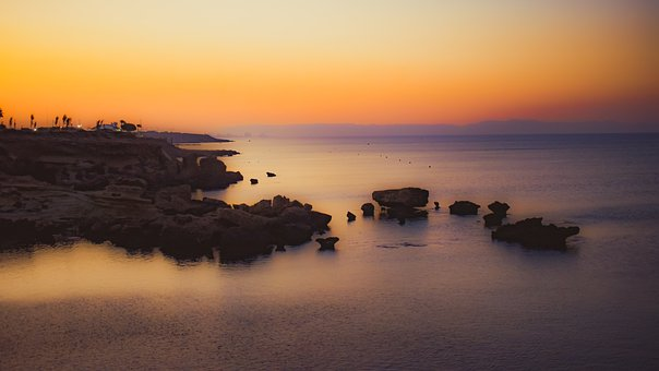 Sunset, Horizon, Rocky Coast, Sea, Twilight, Landscape