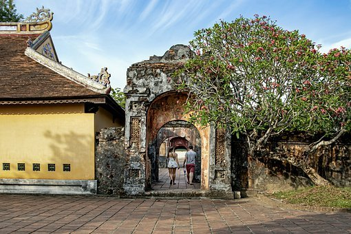 Ruins, Building, Entrance, Trees, Couple, Walking, Old