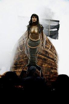 Mermaid, Character, Figure, Sculpture, Ship, Front, Fog