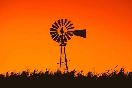 Windmill, Sunset, Dusk, Silhouette, Countryside, Reeds