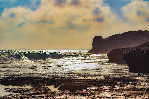 Rocks, Coastline, Sea, Waves, Spray, Splash, Rock Coast