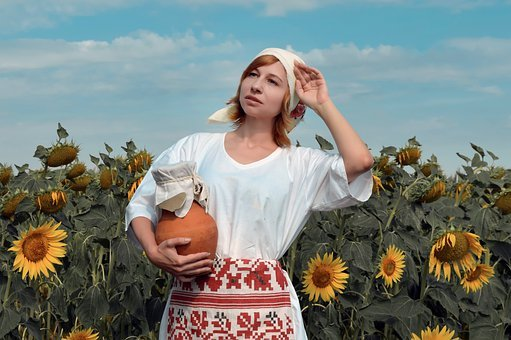 Woman, Model, Folk Costume, Field, Sunflowers, Harvest