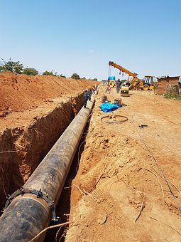 Pipeline, Site, Excavation, Dig, Constructions, Crane