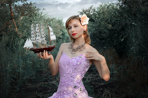 Woman, Model, Sailboat, Ship, Figure, Forest, Moon