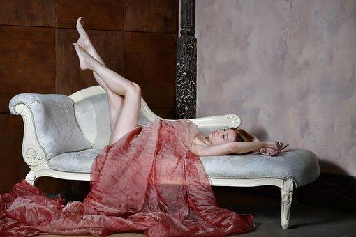 Woman, Pose, Model, Legs, Posing, Sofa, Interior