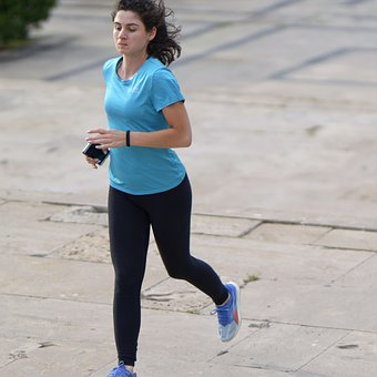 Woman, Young, Running, Outdoors, Pavement, Park, Sports