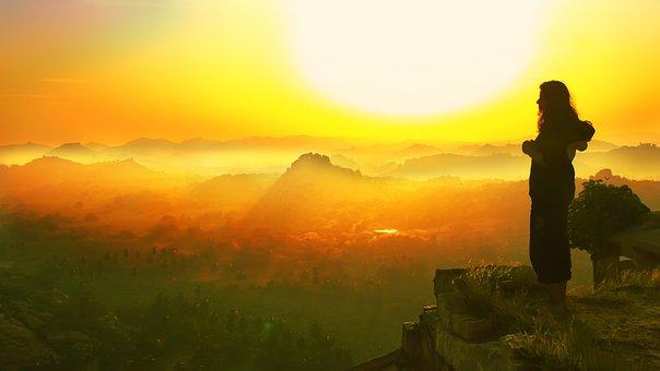 Woman, Sunrise, Fog, Standing, Female, Landscape