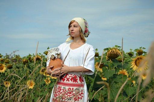 Woman, Model, Folk Costume, Field, Sunflowers, Harvest