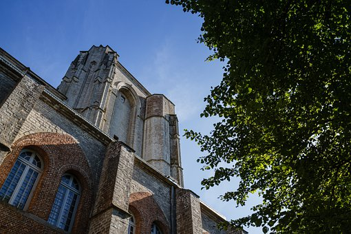 Church, Window, Facade, Tree, Wall, Sky, Veere, Zeeland