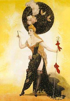 Woman, Lady, Dress, Hat, Society, Cane, Showgirl