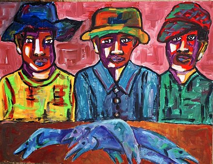 Painted Fishermen, Acrylic Paint, Artistic, Creative