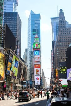 Times Square, Buildings, Billboards, Advertising, Crowd