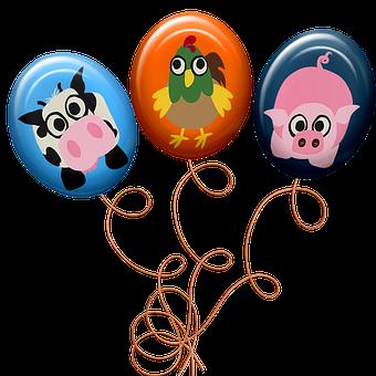 Balloons, Animal Balloons, Farm Animals, Cartoon, Cute