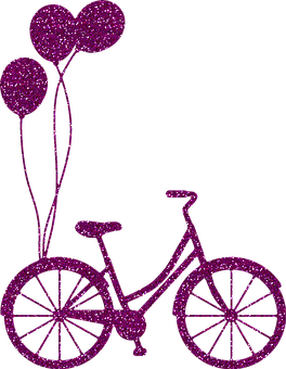 Bicycle, Bike, Balloons, Glitter, Silhouette, Vintage