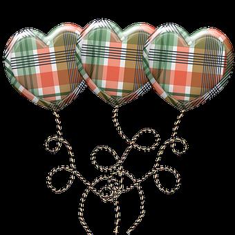 Balloons, Heart Balloons, Plaid, Party, Celebration
