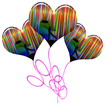 Balloons, Heart Balloons, Rainbow, Stripes, Strings