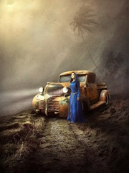 Girl, Dress, Car, Old, Vintage, Lights, Trail, Forest