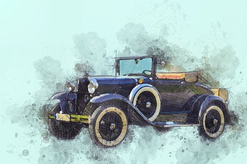 Car, Convertible, Old Timer, Classic, Retro, Painting