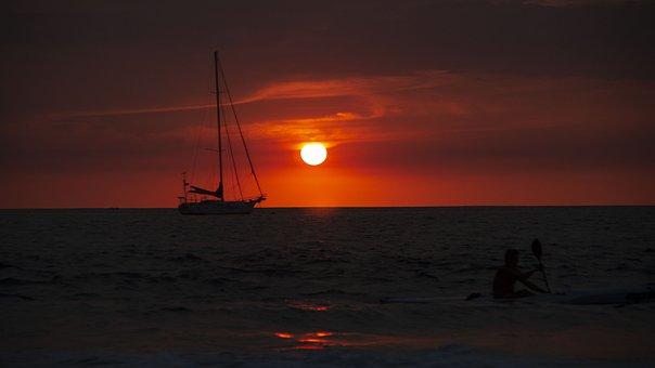 Sunset, Costa Rica, Beach, Nature, Travel, Pura Vida