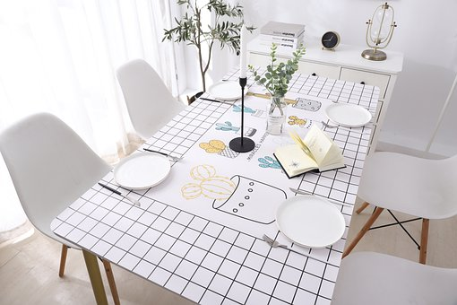 Table, Table Set, Plates, Cutlery, Chairs, Plants, Book
