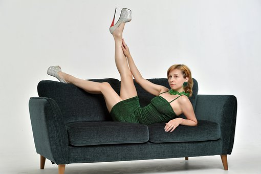 Sofa, Model, Girl, Fabric, Legs, Shoes, Heels, Glamour