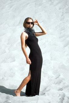 Girl, Model, Black Dress, Desert, Sand, Pose, Fashion