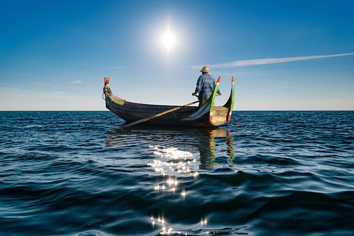 Boat, Man, Fisherman, Sea, Ocean, Fishing, Water, Sun