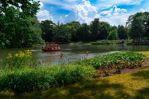 Boat, Lake, Park, Trees, Leaves, Foliage, Flowers