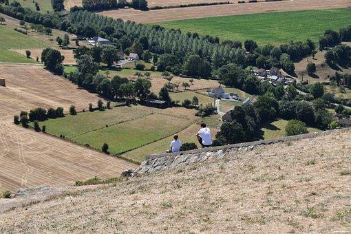Calvados, France, Panoramic Views, Children Sitting