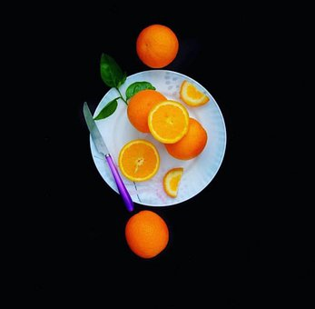 Oranges, Fruit, Slices, Plate, Healthy, Juicy, Knife