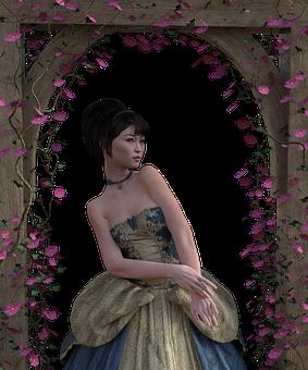 Woman, Arch, Flowers, Gown, Garden, Trellis, Render