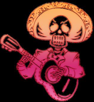 Skull, Skeleton, Sugar Skull, Fiesta, Tattoo, Guitar