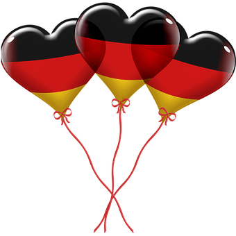 Balloons, Hearts, Heart Shape Balloons, German Flag