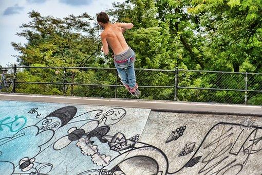 Skateboarder, Park, Sport, Jump, Skateboard, Skate