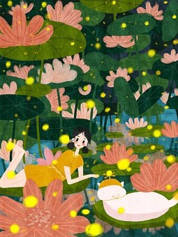 Girl, Cartoon, Lily Pad, Water Lillies, Whimsical