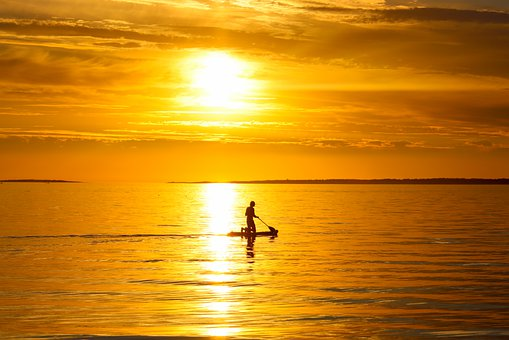 Paddle, Man, Paddle Board, Ocean, Sea, Waves, Horizon